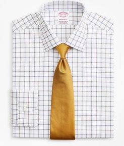 Stretch Madison Classic-Fit Dress Shirt, Non-Iron Poplin Ainsley Collar Double-Grid Check