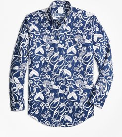 Regent Fit Tropical Print Sport Shirt