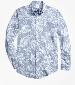 Extra Slim Fit Reverse Palm Tree Print Sport Shirt