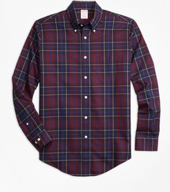 Non-Iron Madison Fit Burgundy Plaid Sport Shirt