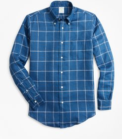Extra Slim Fit Double-Windowpane Irish Linen Sport Shirt