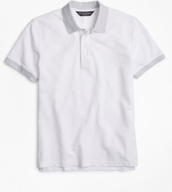 Slim Fit Cotton and Linen Stripe Collar Polo Shirt