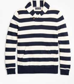 Supima Cotton Nautical Stripe Shawl Collar Sweater