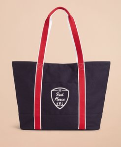 Red Fleece Nyc Large Canvas Tote Bag