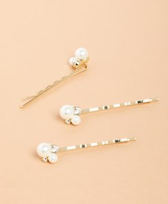 Freshwater Pearl & Crystal Bobby Pins - Set of Three