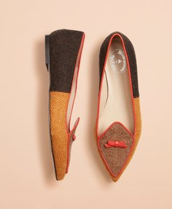 Patchwork Wool Tweed Point-Toe Flats