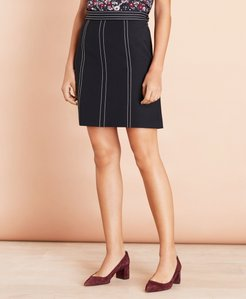 Topstitched Wool-Blend Crepe A-Line Skirt