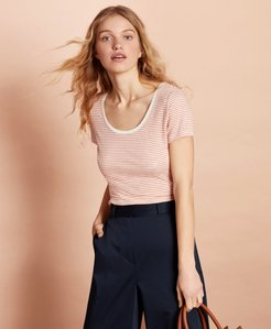 Striped Linen-Blend Scoop-Neck T-Shirt