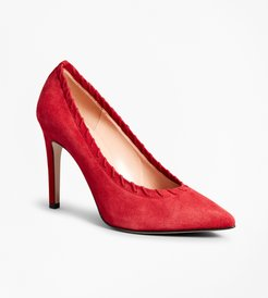 Suede Whip-Stitch Point-Toe Pumps