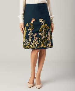 Floral-Embroidered Stretch Cotton Canvas Skirt