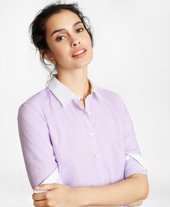 Non-Iron Supima Cotton Twill Contrast-Collar Fitted Shirt