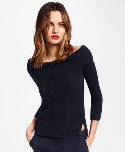 Supima Cotton Portrait-Neck Sweater