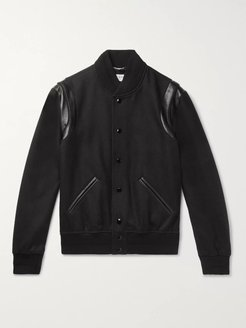 Teddy Leather-Trimmed Wool Bomber Jacket - Men - Black