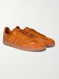 Jonah Hill Samba Embroidered Suede and Leather Sneakers - Men - Brown