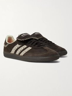 Wales Bonner Samba Crochet- and Leather-Trimmed Suede Sneakers - Men - Black