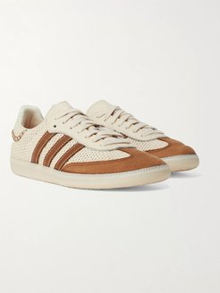 Wales Bonner Samba Leather- and Suede-Trimmed Woven Sneakers - Men - White
