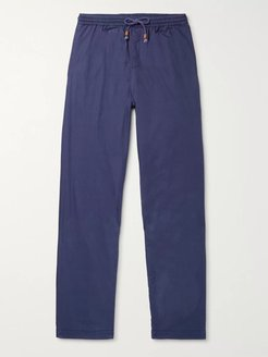 Tapered Herringbone Cotton Drawstring Trousers - Men - Blue