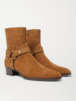 Wyatt 40 Croc-Effect Suede Boots - Men - Brown