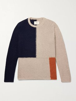 Fracture Panelled Knitted Sweater - Men - Gray