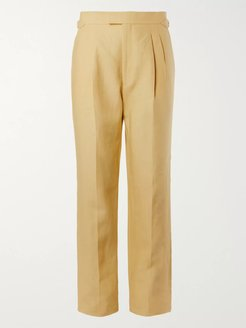 Pleated Linen Suit Trousers - Men - Yellow