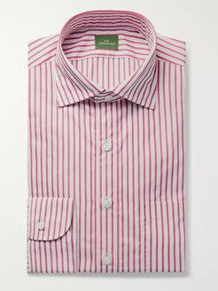 Button-Down Collar Striped Cotton-Poplin Shirt - Men - Red