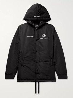 Embroidered Printed Padded Shell Hooded Jacket - Men - Black