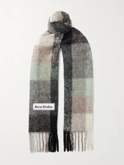 Fringed Logo-Appliquéd Checked Knitted Scarf - Men - Green