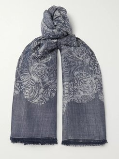 Frayed Logo-Intarsia Wool, Mulberry Silk and Cotton-Blend Scarf - Men - Gray