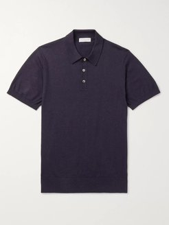 Slim-Fit Mélange Cotton Polo Shirt - Men - Blue