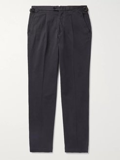 Pleated Stretch-Cotton Chinos - Men - Gray