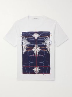 Slim-Fit Embroidered Panelled Cotton-Jersey T-Shirt - Men - White