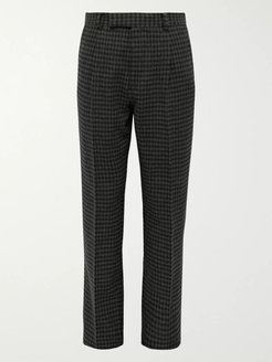 Grey Tapered Houndstooth Pleated Wool-Blend Trousers - Men - Gray