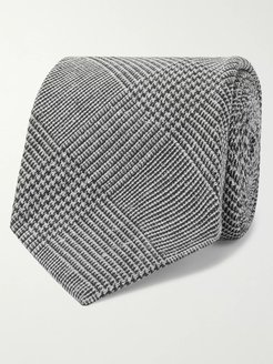 Drake's 8cm Prince of Wales Checked Silk and Wool-Blend Tie - Men - Gray