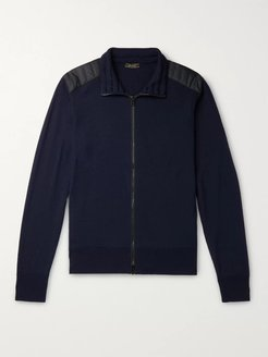 Kelby Slim-Fit Quilted Shell-Trimmed Wool Zip-Up Sweater - Men - Blue