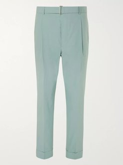 Hugo Cropped Tapered Pleated Cotton Suit Trousers - Men - Green