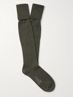 Ribbed Wool and Cotton-Blend Socks - Men - Green