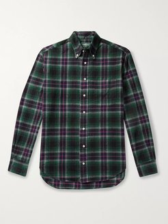 Button-Down Collar Checked Brushed-Cotton Oxford Shirt - Men - Green