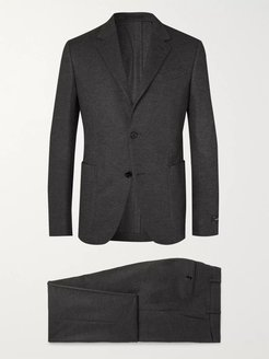 Grey Slim-Fit Brushed Cashmere and Cotton-Blend Suit - Men - Black