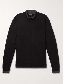 Contrast-Tipped Cotton and Cashmere-Blend Zip-Up Cardigan - Men - Black