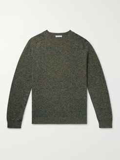 Mélange Virgin Wool and Cashmere-Blend Sweater - Men - Green