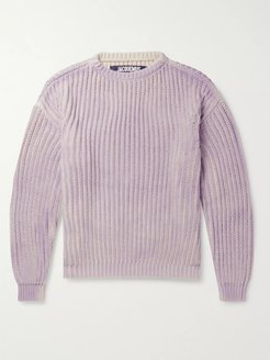 Tie-Dyed Ribbed-Knit Cotton Sweater - Men - Purple