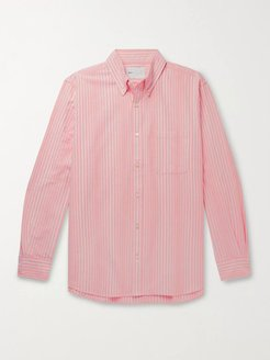 Button-Down Collar Striped Cotton Oxford Shirt - Men - Orange