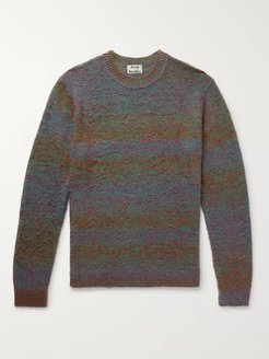 Space-Dyed Striped Brushed Knitted Sweater - Men - Green