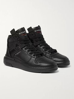 Wing Grosgrain-Trimmed Full-Grain Leather High-Top Sneakers - Men - Black
