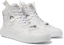 Wing Grosgrain-Trimmed Full-Grain Leather High-Top Sneakers - Men - White