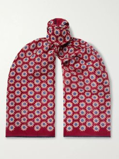 Printed Cotton and Silk-Blend Scarf - Men - Red