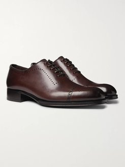 Edgar Whole-Cut Polished-Leather Brogues - Men - Brown