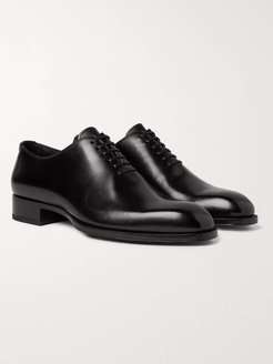 Elkan Whole-Cut Polished-Leather Oxford Shoes - Men - Black