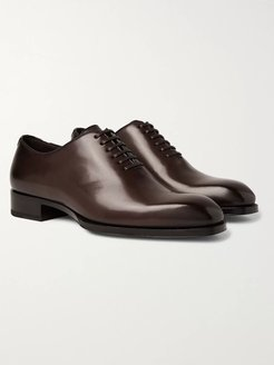 Elkan Whole-Cut Polished-Leather Oxford Shoes - Men - Brown