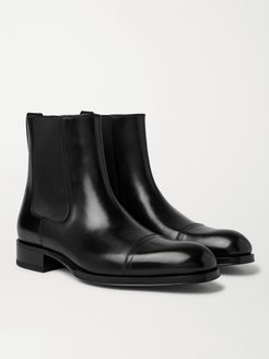 Edgar Cap-Toe Polished-Leather Chelsea Boots - Men - Black